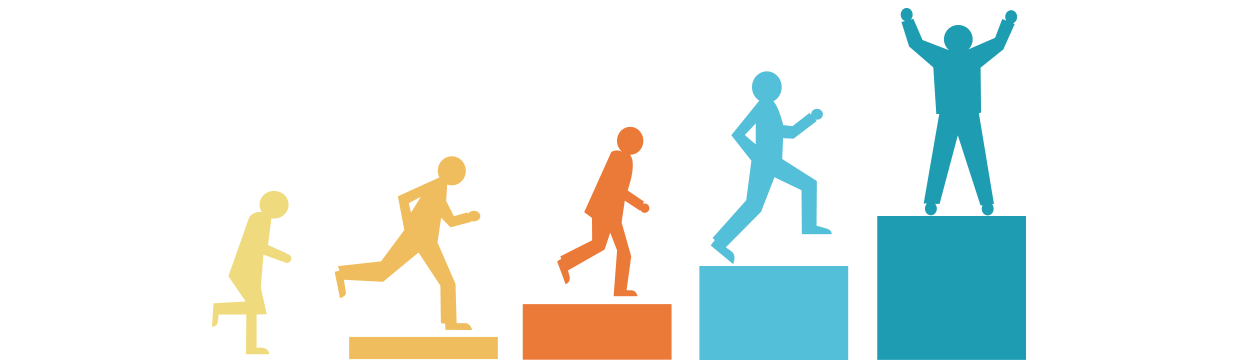 people running up steps to show high achievement